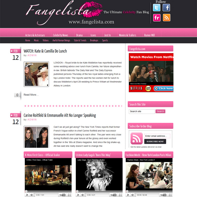 Entertainment Blog Design
