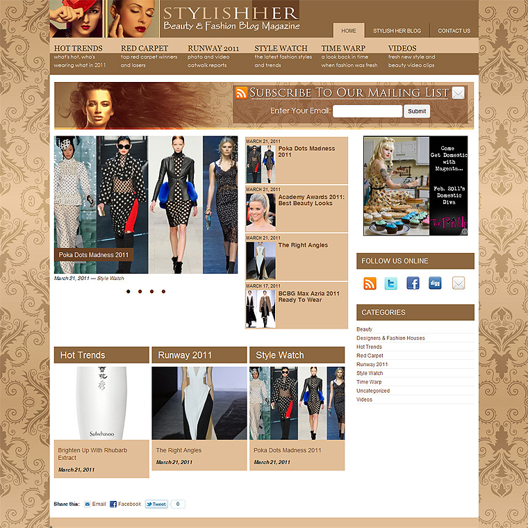 Fashion Magazine Blog Design