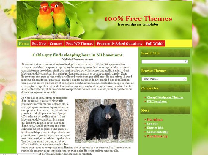 Free WordPress Theme: 2 Birds