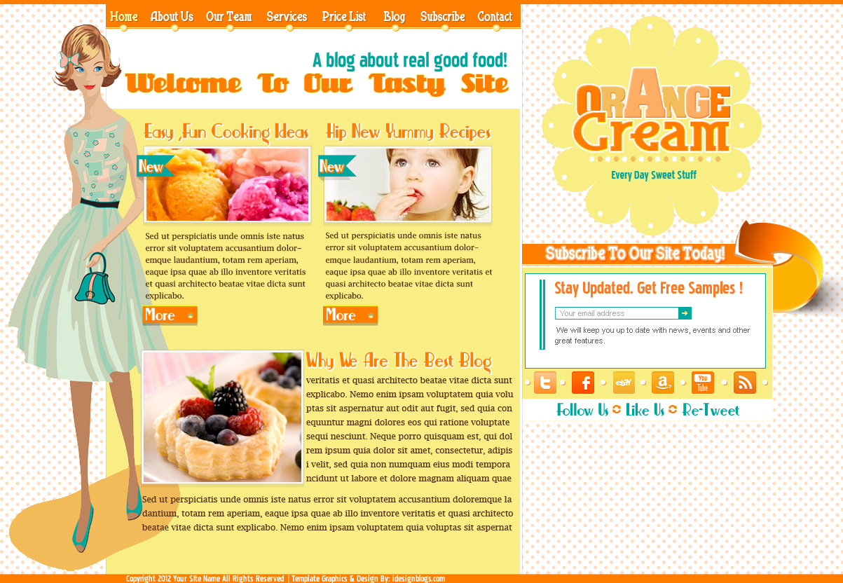 New Freebie Layout! Orange Cream Free Photoshop Template.