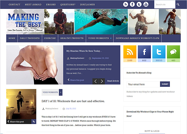 Personal trainer blog design