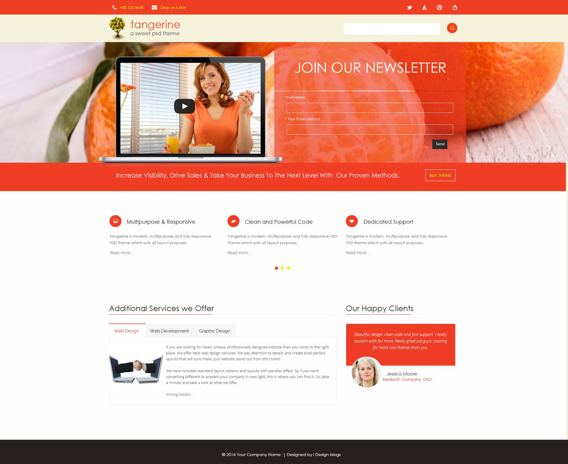 Free Photoshop Landing Page Theme: Orange